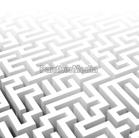 3d weisse labyrinth hintergrund