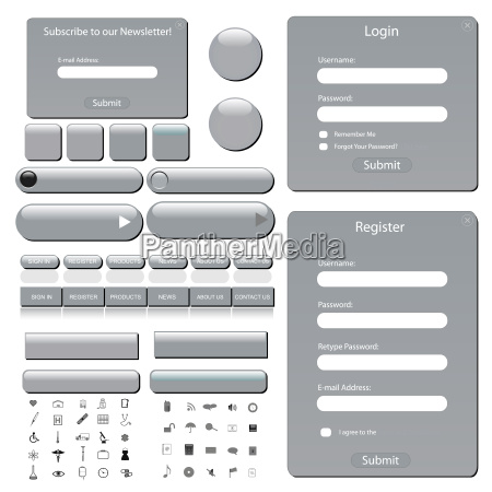 silver web template with forms bars