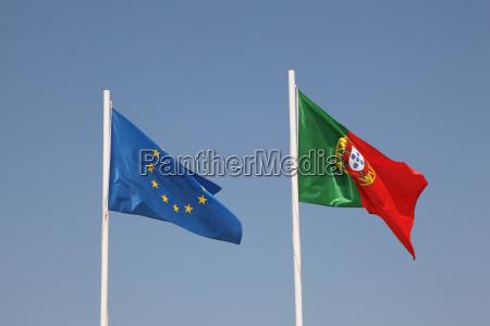 flaggen von portugal und eu