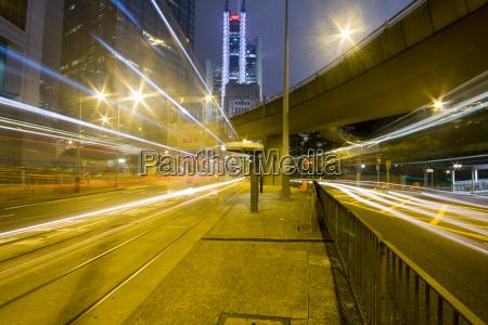 hong kong at night with highrise