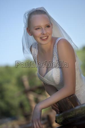 happy bride looking away