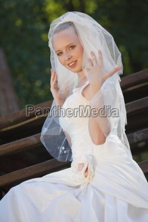 happy bride with veil