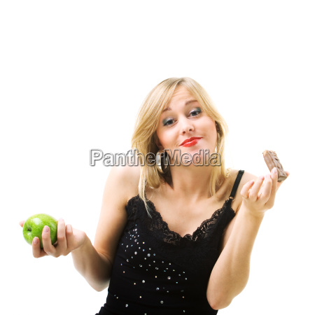 woman eating chocolate bar instead of