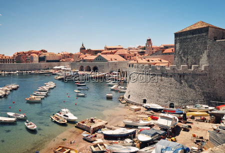 panoramic view to harbour in dubrovnik