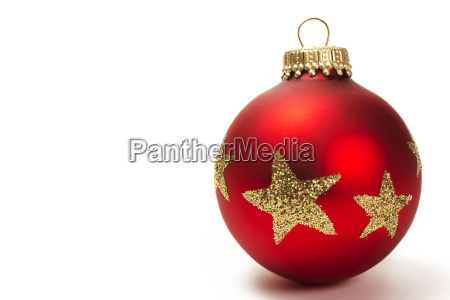 matte rote christbaumkugel mit sternen