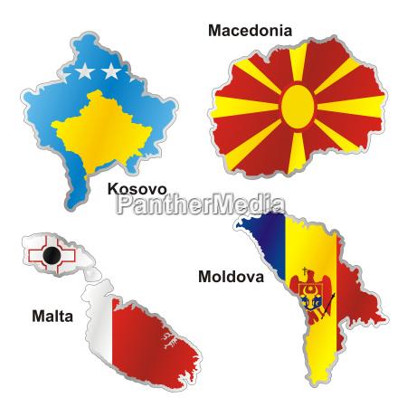 isoliert internationalen flagge in kartenform