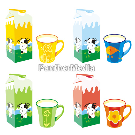 isolated milk carton boxes and mugs