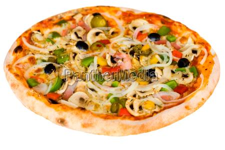 pizza, mit, champignons, schinken, oliven - 3402699