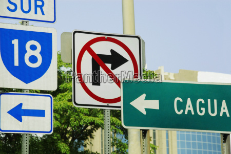 road signs on poles