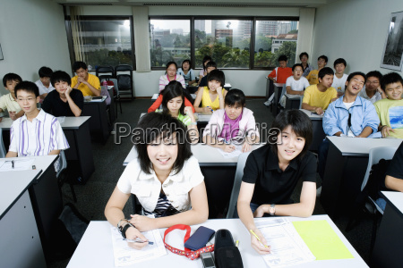 high angle view of students sitting