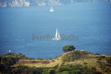 high angle view of sailboats on