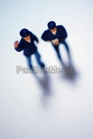 high angle view of two human