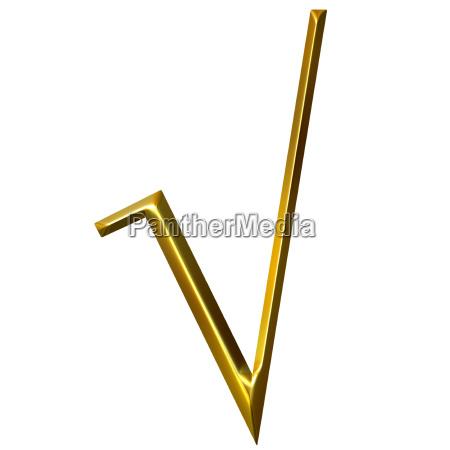 3d golden radical sign