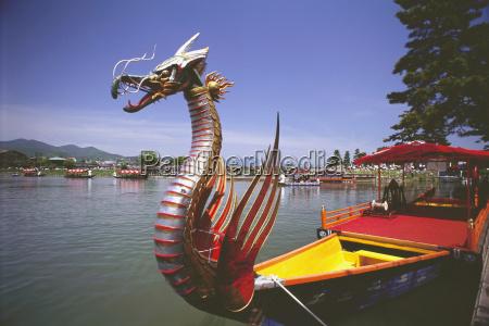 dragon boat in a lake mifune
