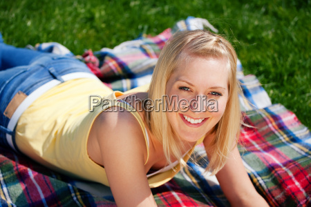 young woman takes a break on