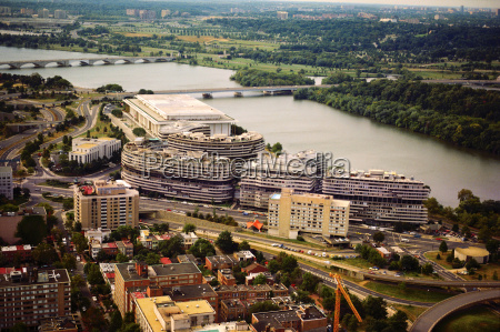aerial view of buildings in a