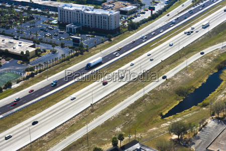 aerial view of vehicles moving on