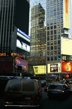 buildings in a city times square