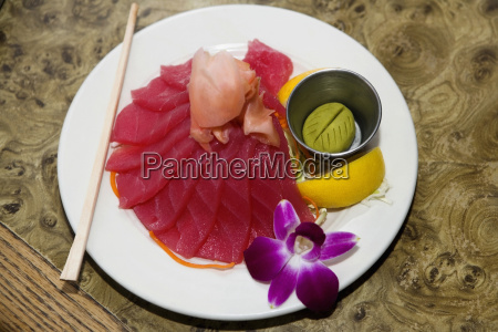 high angle view of raw fish