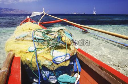fishing net in a boat bali