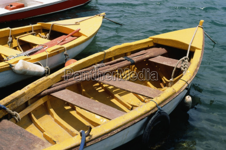 high angle view of rowboats saba