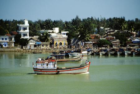 boat on the danang river vietnam
