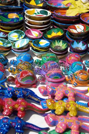 high angle view of ceramics turtles