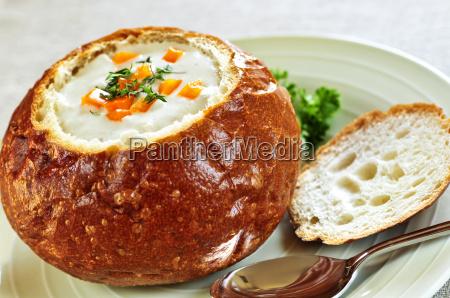 soup in bread bowl