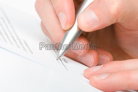 unterzeichnen vereinbarung