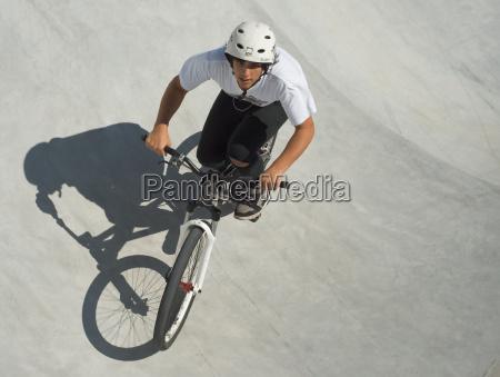 teenager at skateboard park