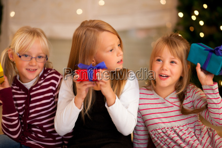 christmas in family girl with
