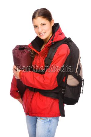 frau mit rucksack