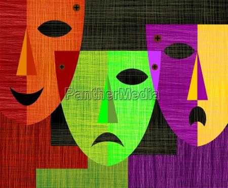digitale malerei von drei masken