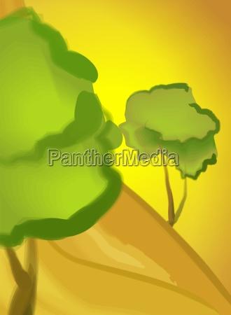 baum anhoehe huegel pflanze
