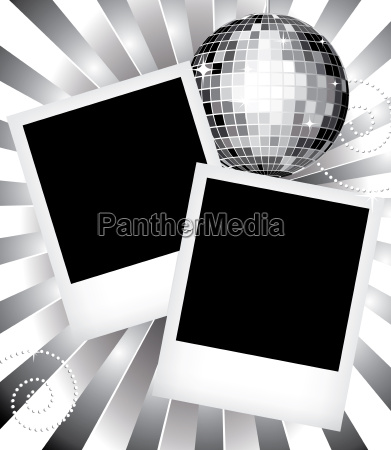 old photo frames with disco ball