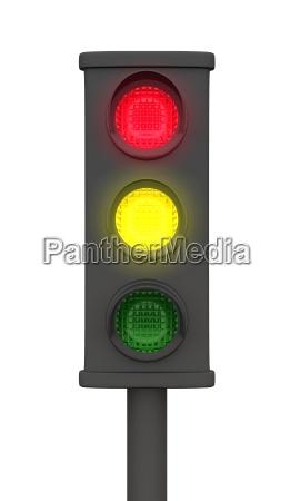 gelb rot 3d ampel schwarz