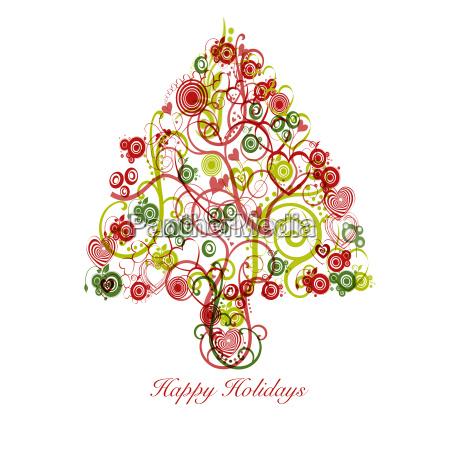 weihnachtsbaum abstrakt mit wirbels herz kreis