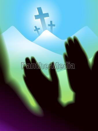 worshipping hand fuer frieden und happines