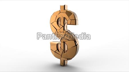 dollar dollars zerbrochen crash abstuerzen absturz