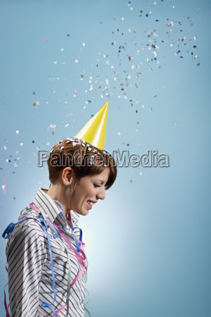 businesswoman with confetti