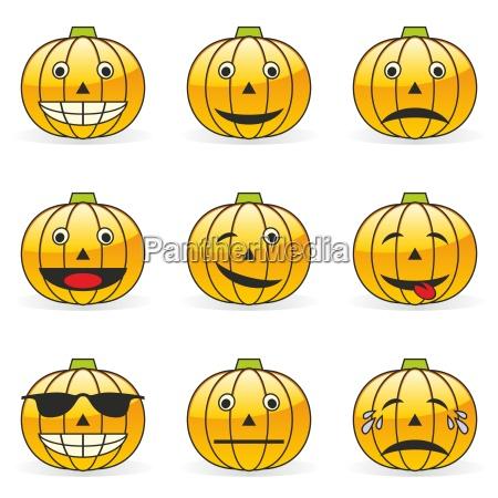 illustration der kuerbis emoticons