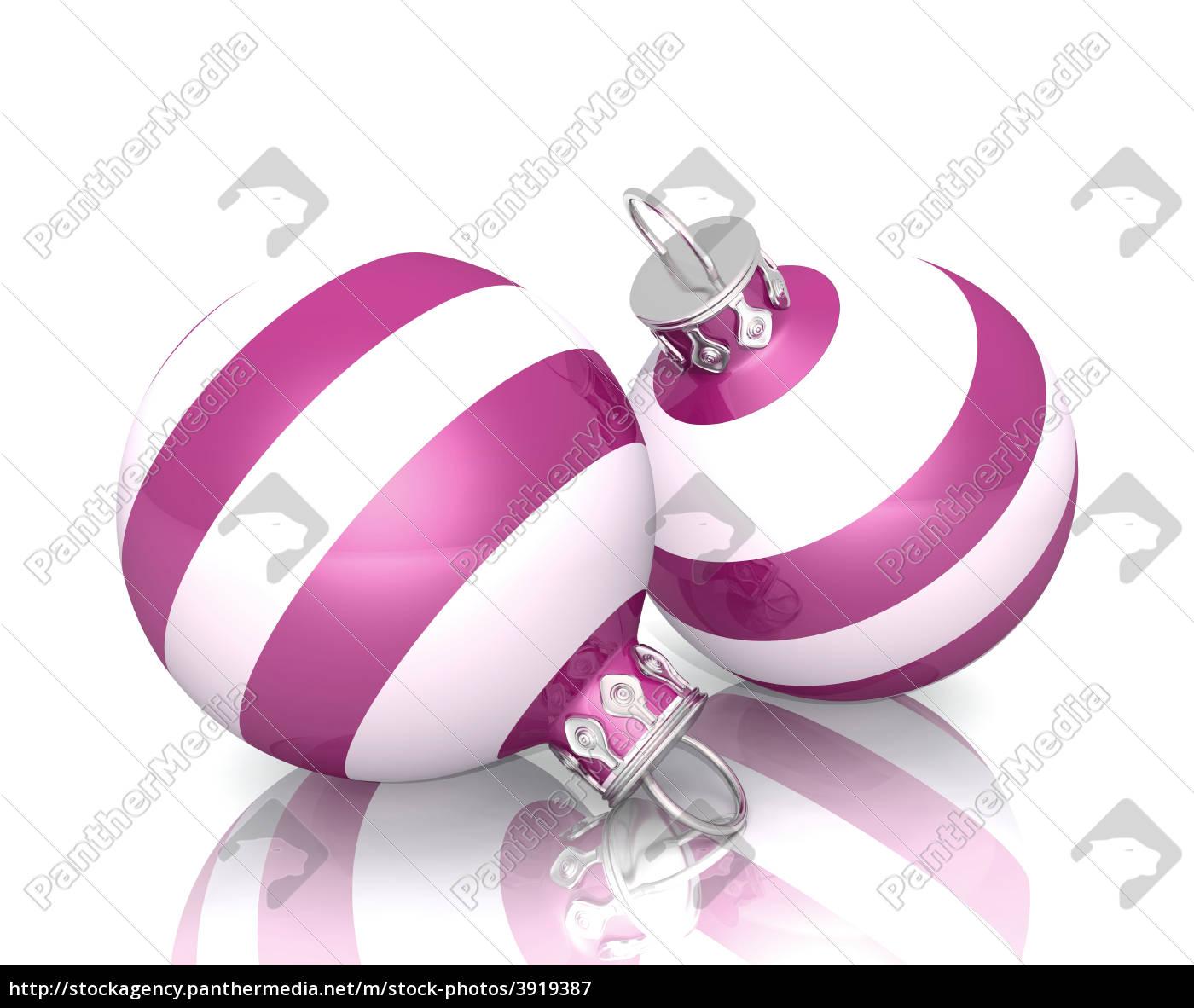 Weihnachtskugeln Pink.Lizenzfreies Bild 3919387 Weihnachtskugeln 2x Pink Weiß Gestreift 02