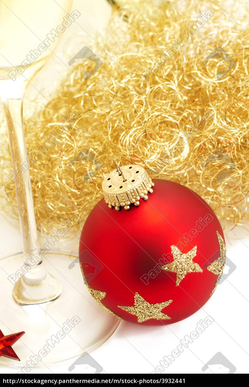 Christbaumkugeln Champagner Glas.Lizenzfreies Bild 3932441 Sekt Glas Christbaumkugel Engelshaar