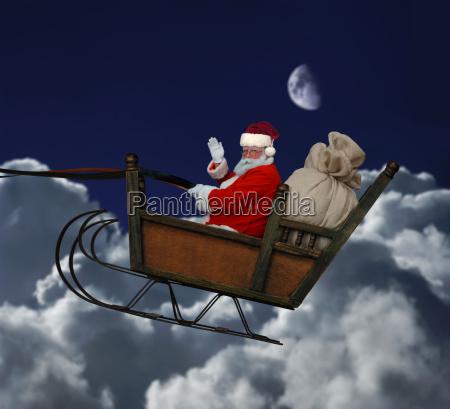 santa in flight