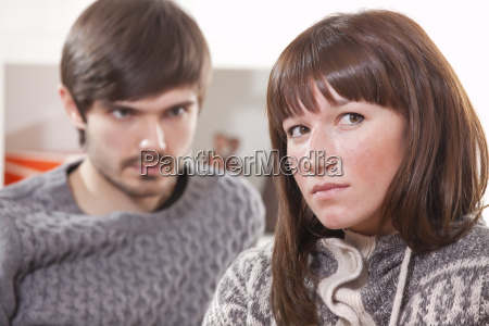 frustrated couple at home
