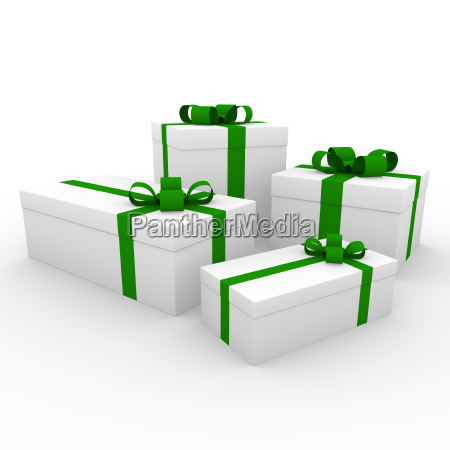3d green gift box isolated white