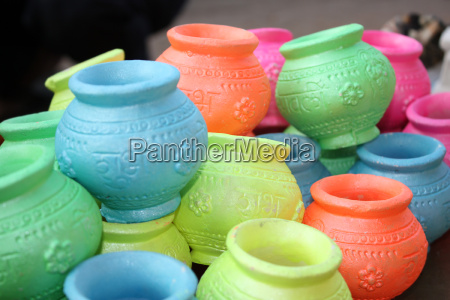 colorful diwali pots