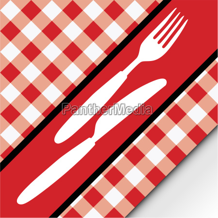 rote gingham menuekarte