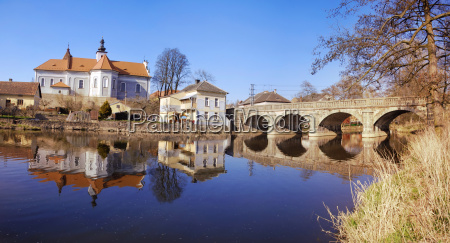 mirovice town and river skalice