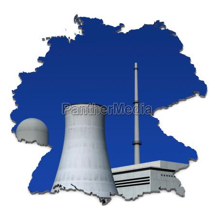 atomkraftwerk vor blau deutschlandkarte